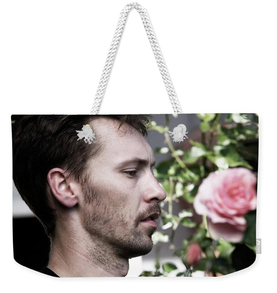 Portrait Of A Man And A Rose Weekender Tote Bag