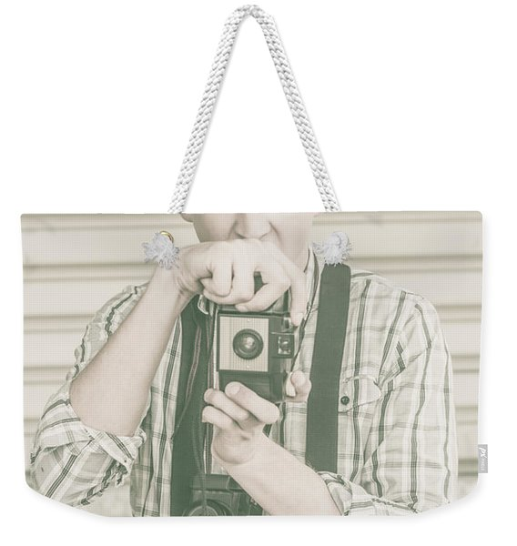 Portrait Of A Surprised Photographer Weekender Tote Bag