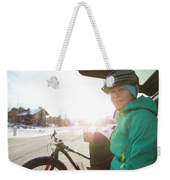 Portrait Of A Woman After A Winter Ride Weekender Tote Bag