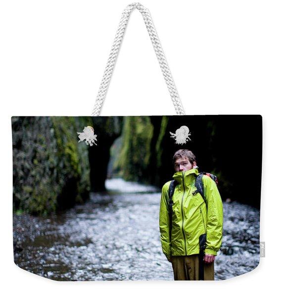 Portrait Of Adult Male Hiker Weekender Tote Bag