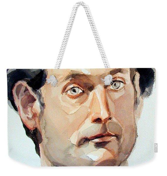 Watercolor Portrait Of A Man With Pale Blue Eyes Weekender Tote Bag