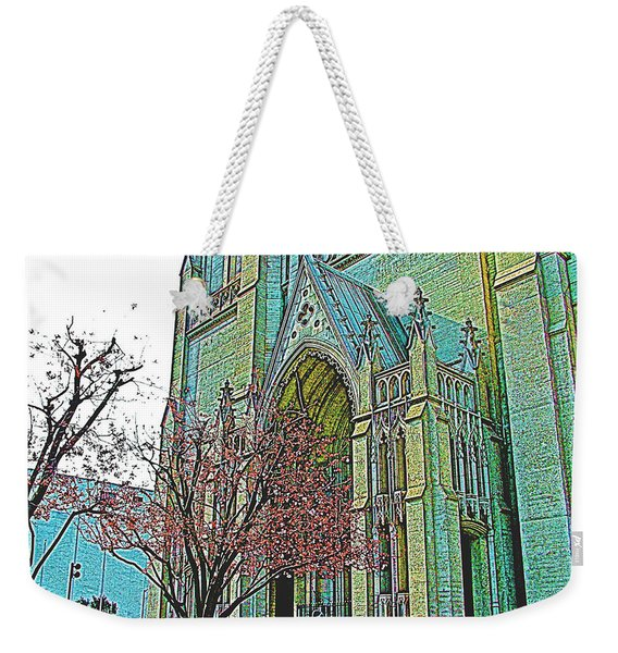 Portrait Of Grace Cathedral In San Francisco-california  Weekender Tote Bag