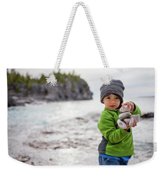 Portrait Of Little Boy Standing At Lake Weekender Tote Bag