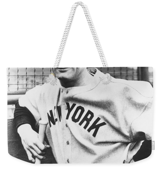 Portrait Of Lou Gehrig Weekender Tote Bag