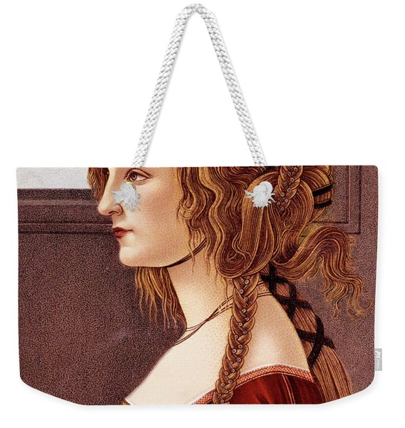 Portrait Of Young Woman By Botticelli Weekender Tote Bag