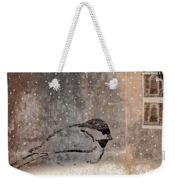 Postcard Chickadee In The Snow Weekender Tote Bag