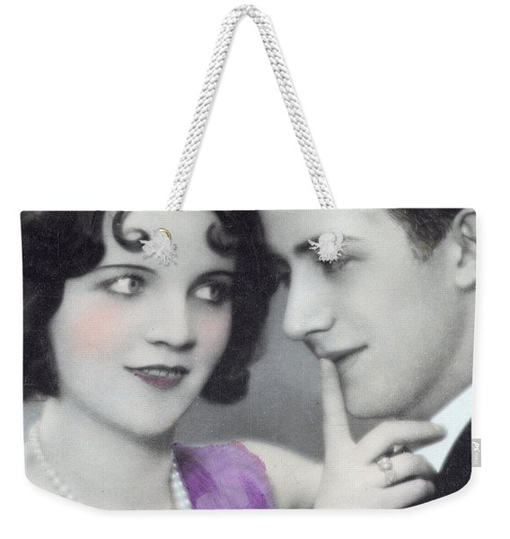 Postcard Depicting Two Lovers Weekender Tote Bag