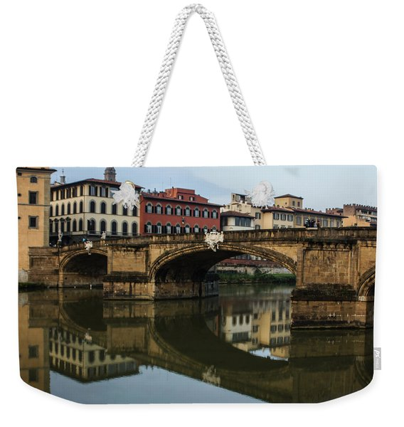 Postcard From Florence - Arno River And Ponte Santa Trinita  Weekender Tote Bag