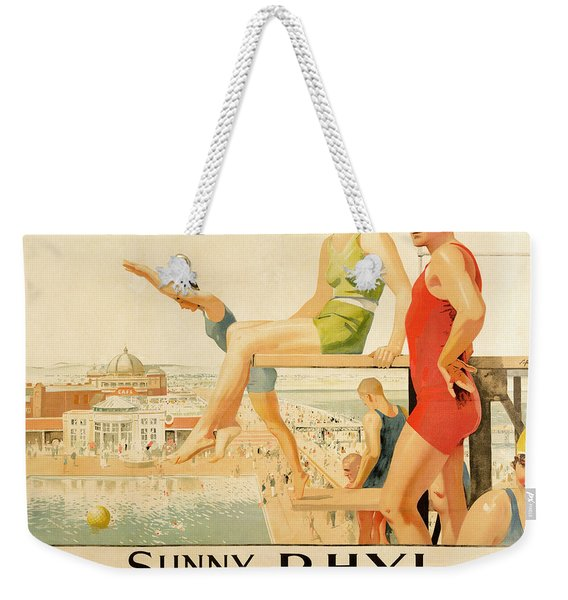 Poster Advertising Sunny Rhyl  Weekender Tote Bag