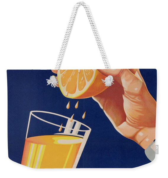 Poster With A Glass Of Orange Juice Weekender Tote Bag
