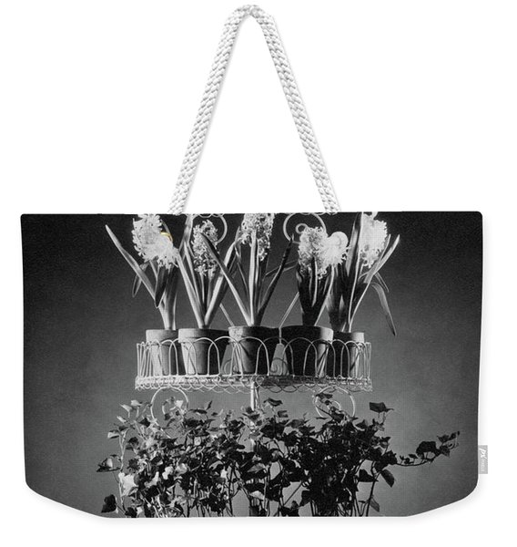 Potted Flowers On A Wrought Iron Stand Weekender Tote Bag