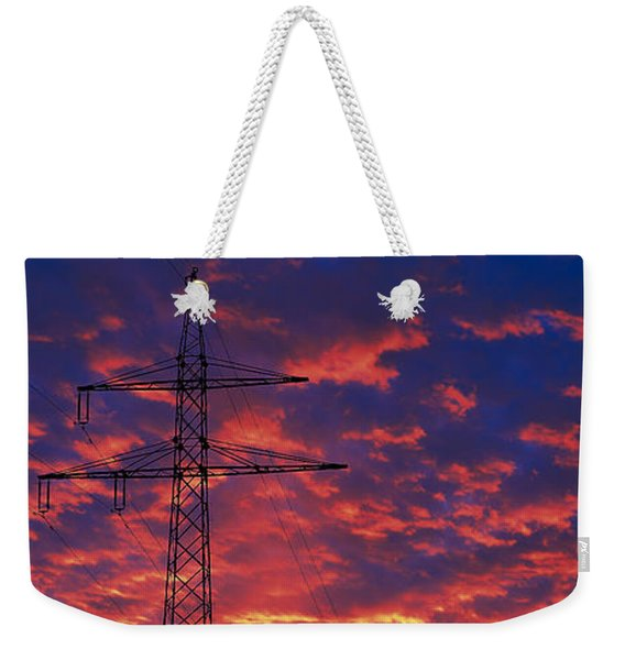 Power Lines At Sunset Germany Weekender Tote Bag