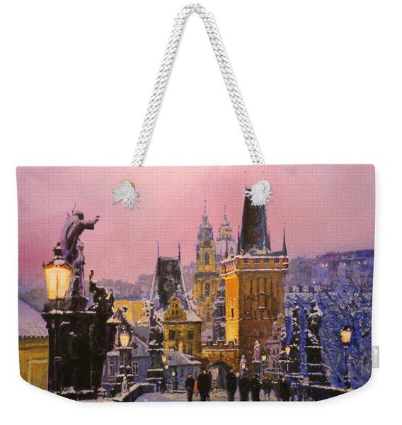 Prague Charles Bridge  Winter Evening Weekender Tote Bag