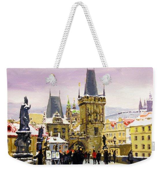 Prague Gharles Bridge Winter Weekender Tote Bag