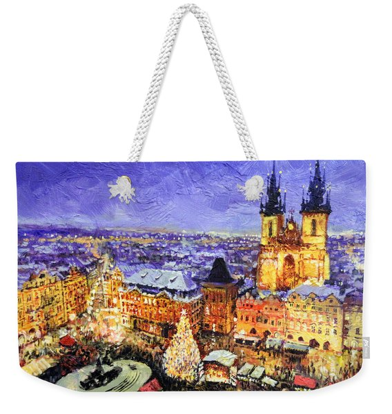 Prague Old Town Square Christmas Market Weekender Tote Bag