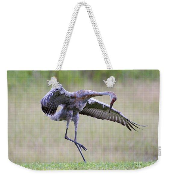 Prancing Sandhill Crane Weekender Tote Bag