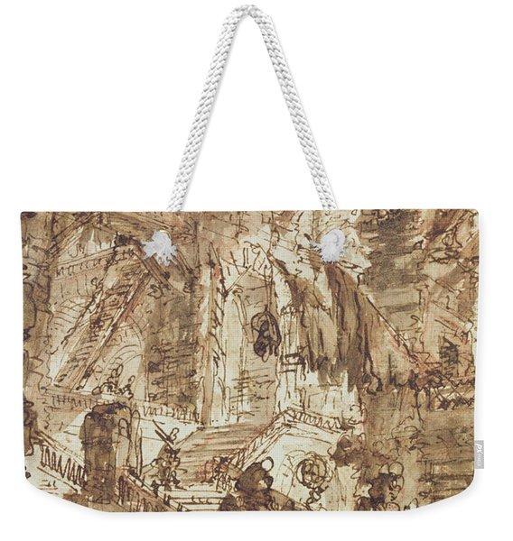 Preparatory Drawing For Plate Number Viii Of The Carceri Al'invenzione Series Weekender Tote Bag