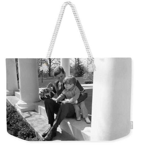 President Kennedy And John-john Weekender Tote Bag