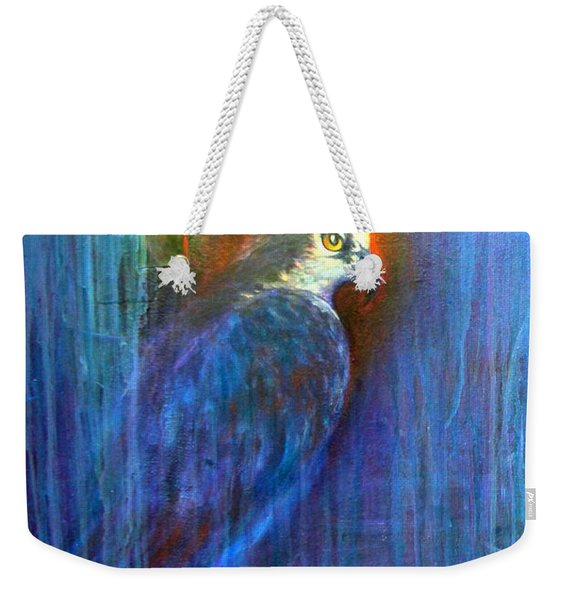 Weekender Tote Bag featuring the painting Prey by Ashley Kujan