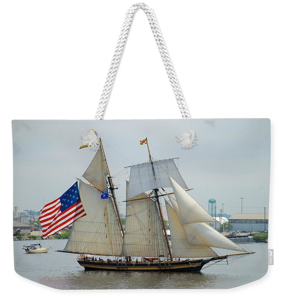 Pride Of Baltimore II Passing By Fort Mchenry Weekender Tote Bag