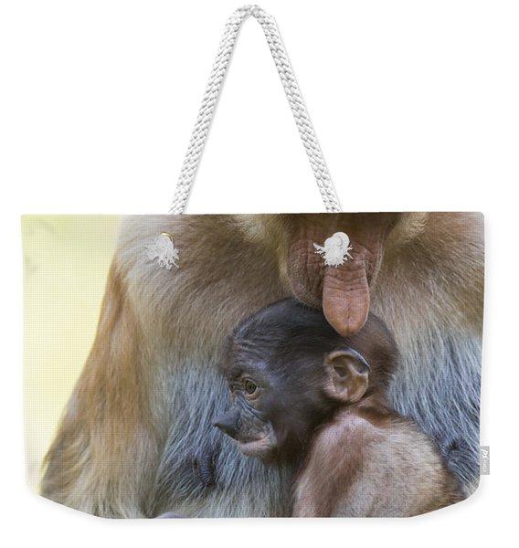Proboscis Monkey Mother Holding Baby Weekender Tote Bag