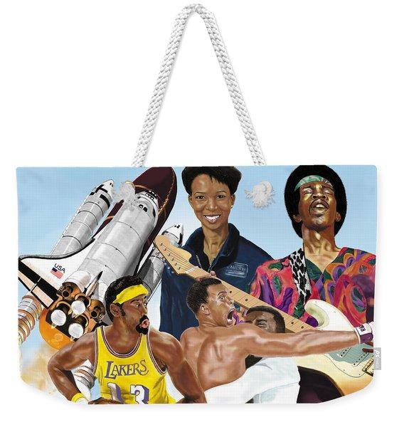 Jimi, Muhammad Ali, Wilt Chamberlain And Mae Carol Jemison Weekender Tote Bag