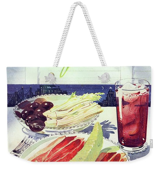Prosciutto, Melon, Olives, Celery And A Glass Weekender Tote Bag