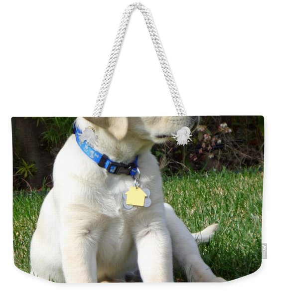 Proud Yellow Labrador Puppy Weekender Tote Bag