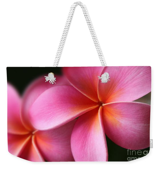 Pua Lei Aloha Cherished Blossom Pink Tropical Plumeria Hina Ma Lai Lena O Hawaii Weekender Tote Bag