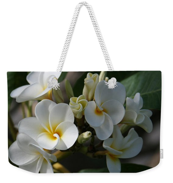 Pua Melia Na Puakea Onaona Tropical Plumeria Weekender Tote Bag