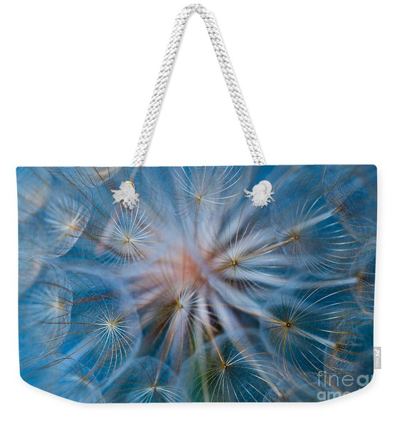 Weekender Tote Bag featuring the photograph Puff-ball In Blue by Jaroslaw Blaminsky