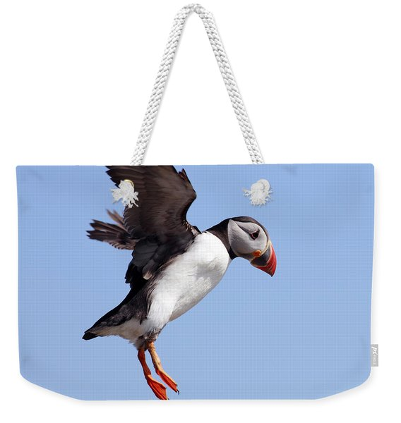 Puffin In Flight Weekender Tote Bag