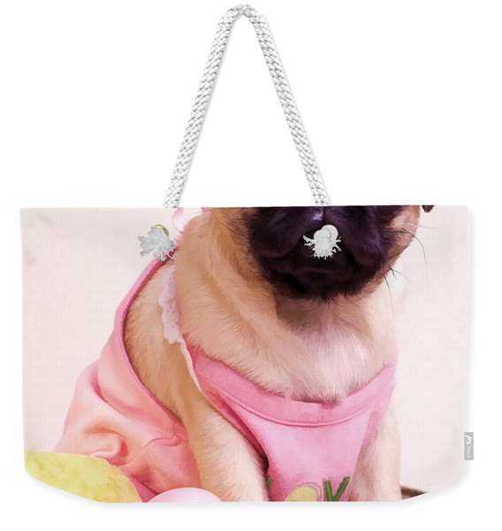 Pug Puppy Bath Time Weekender Tote Bag