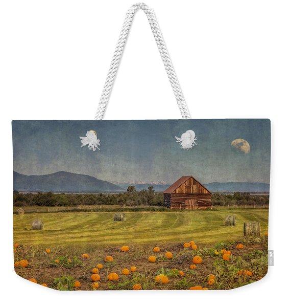 Pumpkin Field Moon Shack Weekender Tote Bag