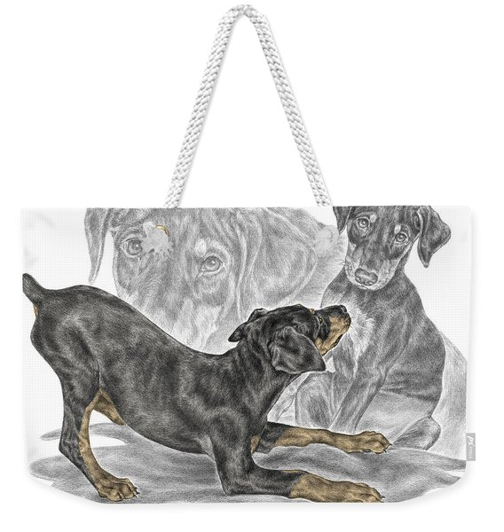 Puppy Love - Doberman Pinscher Pup - Color Tinted Weekender Tote Bag