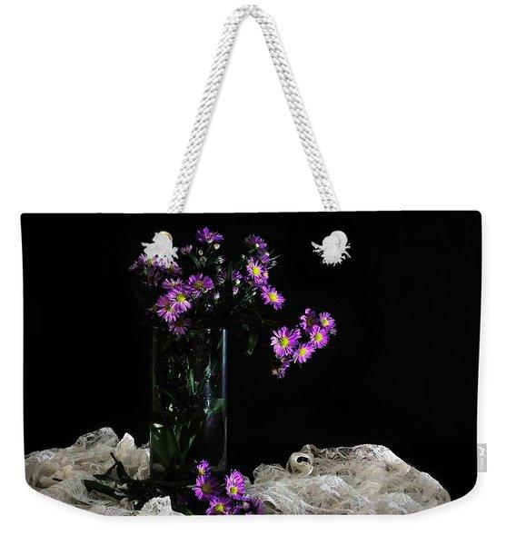 Purple And Lace Weekender Tote Bag