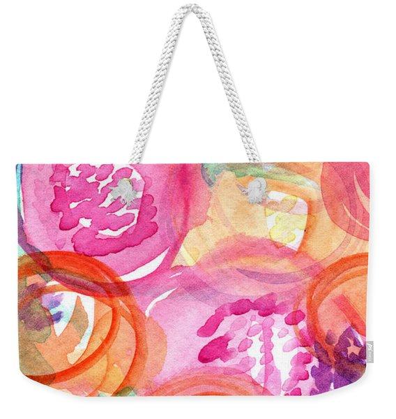 Purple And Orange Flowers Weekender Tote Bag