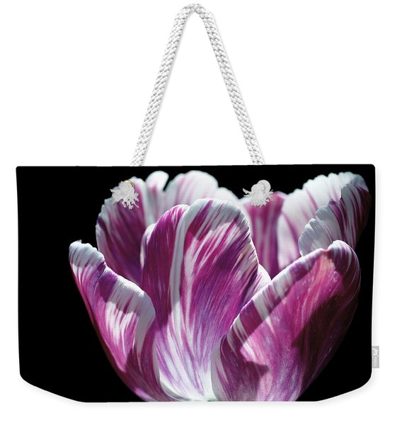 Purple And White Marbled Tulip Weekender Tote Bag