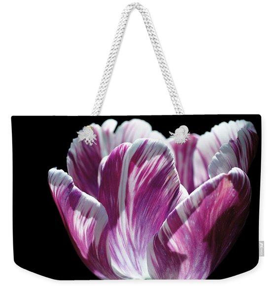 Purple And White Marbled Tulip Weekender Tote Bag