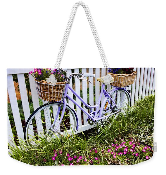 Purple Bicycle And Flowers Weekender Tote Bag