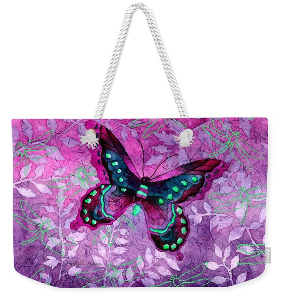 Purple Butterfly Weekender Tote Bag