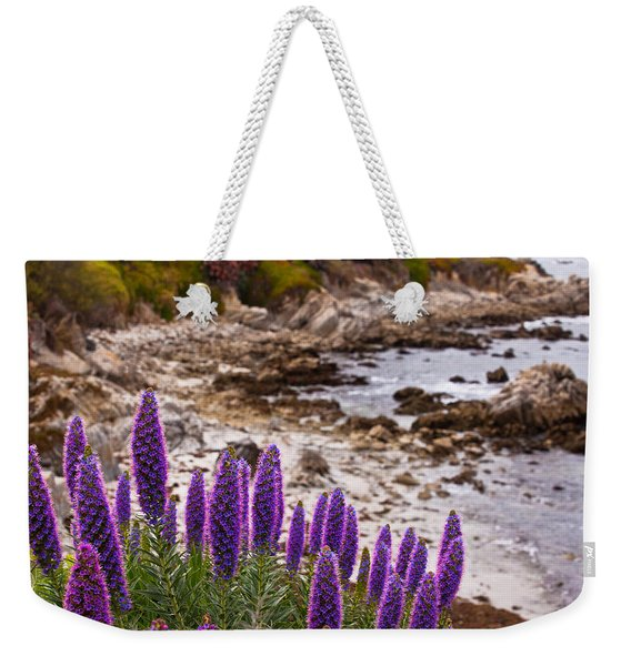 Purple California Coastline Weekender Tote Bag
