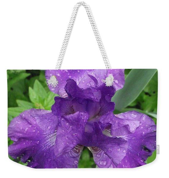 Purple Iris After The Rain Weekender Tote Bag