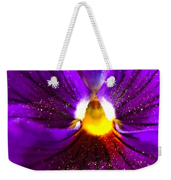 Purple Pansy Detail Weekender Tote Bag