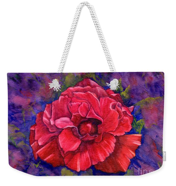Weekender Tote Bag featuring the painting Purple Passion by Nancy Cupp