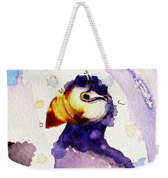 Purple Puffin Weekender Tote Bag