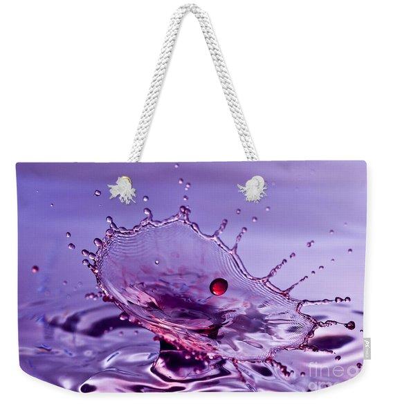 Purple Water Splash Weekender Tote Bag