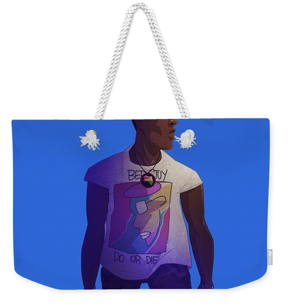 Weekender Tote Bag featuring the drawing Radio Raheem by Nelson Dedos Garcia