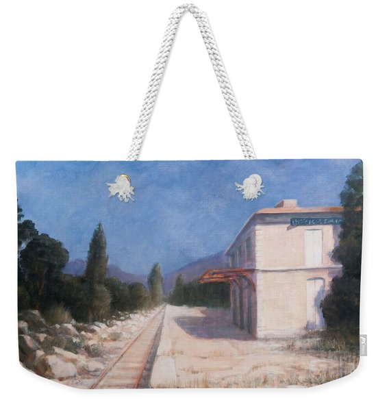 Rail Station, Châteauneuf, 2012 Acrylic On Canvas Weekender Tote Bag