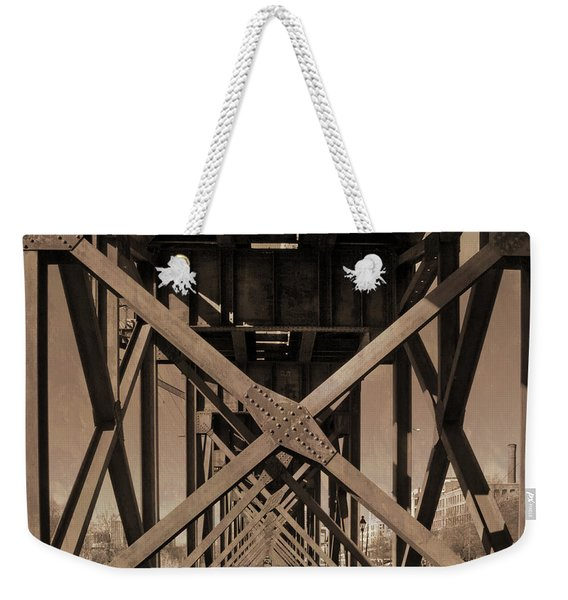 Weekender Tote Bag featuring the photograph Railroad Trestle Sepia by Jemmy Archer